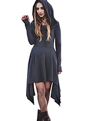 cheap -Women's Asymmetrical Gray Dress A Line Solid Color S M