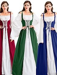 cheap -Princess Goddess Vintage Medieval Gypsy Outfits Party Costume Women's Costume Emerald Green / Purple / As Picture Vintage Cosplay Thanksgiving Long Sleeve Floor Length Two Piece / Dress / Dress