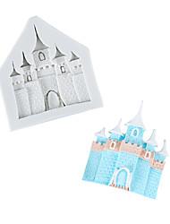 cheap -European-style cartoon castle chocolate mold fondant cake silicone mold home baking tools