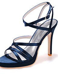 cheap -Women's Wedding Shoes Stiletto Heel Open Toe Satin Classic Spring & Summer Black / White / Ivory / Party & Evening