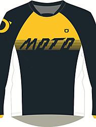 Недорогие -мото джерси рубашки мотоцикла&майки воздухопроницаемые / быстросохнущие / солнцезащитный крем желтая черная футболка с длинными рукавами локомотив мотоцикл джерси