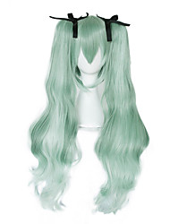 cheap -Cosplay Hatsune Miku Cosplay Wigs Women's With 2 Ponytails 28 inch Heat Resistant Fiber Curly Green Adults' Anime Wig