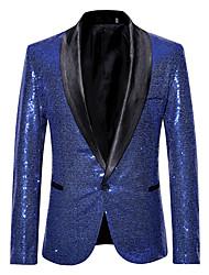 cheap -men's pink gold flower pattern wedding singer sequins suit jacket (xl, black c)