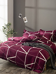 cheap -Duvet Cover Sets 3 Piece Polyester / Polyamide Solid Colored Purple Printed Simple