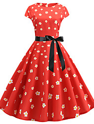 cheap -Women's Red Dress Active Cute Party Daily Swing Floral Print Patchwork Print S M / Cotton