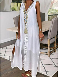 cheap -Women's Maxi White Dress Shift Solid Color V Neck S M Loose