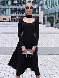 cheap -Women's Vintage Style Little Black Dress - Solid Colored Black S M L