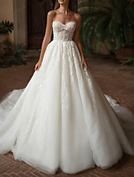 cheap -Ball Gown Wedding Dresses Strapless Sweep / Brush Train Lace Tulle Strapless Formal Plus Size with Draping Appliques 2021