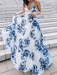 cheap -Women's Maxi Light Blue Dress Summer Holiday Vacation Beach Swing Floral Print Strap S M