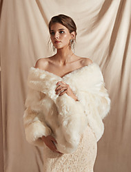 cheap -Winter Coats Jackets Sleeveless Solid Shawls Faux Fur Wedding Bridal Evening Women's Wrap Faux Fur Shawl Faux Fur Stoel