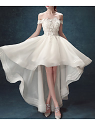 cheap -A-Line Wedding Dresses Off Shoulder Asymmetrical Chiffon Tulle Sleeveless Formal Illusion Detail Plus Size with Draping Lace Insert Appliques 2020