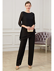 cheap -Pantsuit / Jumpsuit Jewel Neck Floor Length Polyester Half Sleeve Elegant Mother of the Bride Dress with Ruching 2020