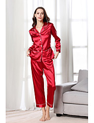 cheap -Women's Cut Out Mesh Normal Chemises & Gowns Robes Satin & Silk Nightwear Jacquard Solid Colored Black / Red / Fuchsia S M L