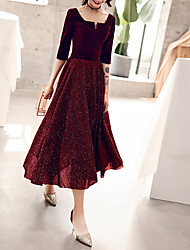 cheap -A-Line Sparkle Red Cocktail Party Prom Dress Scoop Neck Half Sleeve Tea Length Velvet with Sequin 2020