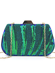 cheap -Women's Sequin Polyester Evening Bag Striped Black / Silver / Blue