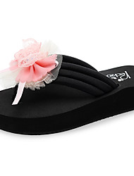cheap -Women's Slippers & Flip-Flops Flat Heel Open Toe Bowknot / Satin Flower Polyester Casual / Sweet Walking Shoes Summer Pink