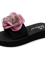 cheap -Women's Slippers & Flip-Flops Flat Heel Open Toe Satin Flower Polyester Casual / Minimalism Walking Shoes Summer Brown / Fuchsia / Pink
