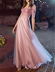 cheap -A-Line Sexy Pink Engagement Prom Dress V Neck Short Sleeve Floor Length Chiffon with Pleats Appliques 2020