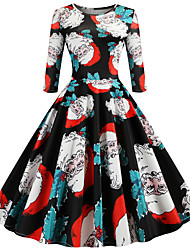 cheap -Women's Black Dress Active Street chic Party Daily Swing Floral Print Patchwork Print S M / Cotton / Belt Not Included