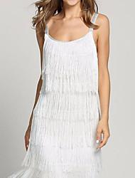 cheap -Women's Shift Dress - Solid Color White Silver Black S M L XL