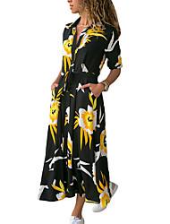 cheap -Women's Sheath Dress - Print Black Maxi White Yellow S M L XL