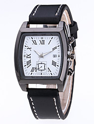 cheap -Men's Dress Watch Quartz Leather Black / Brown Water Resistant / Waterproof Calendar / date / day Analog Casual Fashion - Black Brown One Year Battery Life