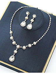 cheap -Women's Crystal Bridal Jewelry Sets Transparent Flower Vintage Elegant Earrings Jewelry White For Wedding Party 1 set