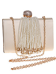 cheap -Women's Bags Polyester Evening Bag Pearls Crystals Solid Color Wedding Bags Wedding Party Event / Party White Black Red Almond