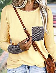 cheap -Women's Color Block Long Sleeve Pullover Sweater Jumper, Round Neck Black / White / Purple S / M / L