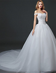 cheap -Ball Gown Off Shoulder Watteau Train Polyester / Lace / Tulle Sleeveless Simple Wedding Dresses with Appliques 2020