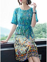 cheap -Women's Blue Dress A Line Print M L
