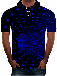cheap -Men's Plus Size Graphic Slim Polo Street chic Exaggerated Daily Going out Shirt Collar Blue / Short Sleeve