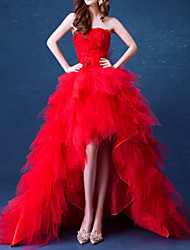 cheap -Mermaid / Trumpet Sexy Red Prom Formal Evening Dress Strapless Sleeveless Asymmetrical Tulle with Tier 2020