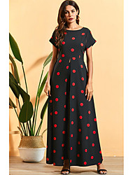 cheap -Women's Maxi Black Dress A Line Polka Dot M L