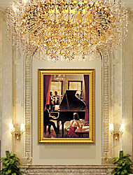 cheap -Framed Art Print Ready To hang Noble Dinner Paintings for Home Canvas Decoration