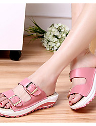 cheap -Women's Sandals Flat Sandals Platform Sandals Leather Sandals Spring & Summer Platform Round Toe Daily Solid Colored PU White / Black / Yellow