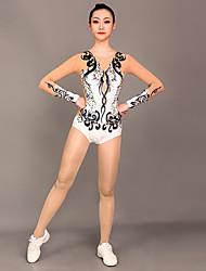 cheap -Rhythmic Gymnastics Leotards Artistic Gymnastics Leotards Women's Girls' Leotard Black / White Spandex High Elasticity Handmade Jeweled Diamond Look Long Sleeve Competition Dance Rhythmic Gymnastics