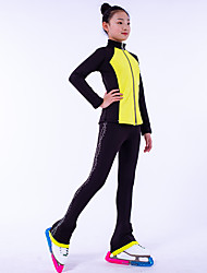 cheap -Over The Boot Figure Skating Tights Figure Skating Fleece Jacket Girls' Ice Skating Top Bottoms Dark Pink Yellow Royal Blue Fleece Spandex High Elasticity Training Competition Skating Wear Crystal