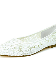 cheap -Women's Wedding Shoes Flat Heel Pointed Toe Wedding Flats Sweet Wedding Party & Evening Lace Floral Braided White Pink Ivory