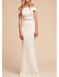 cheap -Sheath / Column White Elegant Engagement Formal Evening Dress Off Shoulder Sleeveless Floor Length Polyester with Sleek Beading 2021