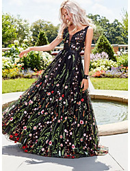 cheap -Women's Maxi Black Dress A Line Floral V Neck S M