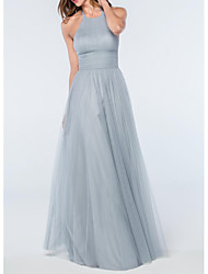 cheap -A-Line Minimalist Blue Wedding Guest Prom Dress Halter Neck Sleeveless Floor Length Tulle with Pleats 2020