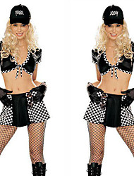 cheap -Cheerleader Skirt Gloves Hat Outfits Adults' Women's Cosplay Halloween Halloween Festival / Holiday Polyster Black Women's Carnival Costumes / Top / Skirts