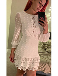 cheap -Women's White Dress Sheath Solid Color S M
