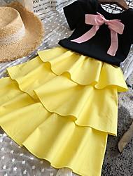 cheap -Kids Girls' Basic Color Block Short Sleeve Clothing Set Rainbow