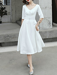 cheap -A-Line Minimalist White Graduation Cocktail Party Dress V Neck Half Sleeve Knee Length Satin with Buttons 2020