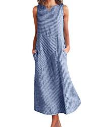 cheap -Women's Khaki Blue Dress Shift Striped V Neck S M