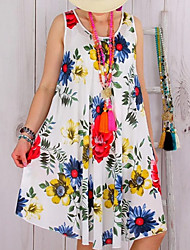 cheap -Women's Green Blue Dress Swing Floral L XL Loose