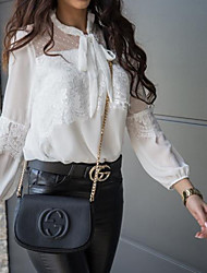 cheap -Women's Daily Going out Basic / Elegant Blouse - Solid Colored Lace Black