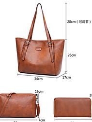 cheap -Women's Zipper PU Bag Set Solid Color 4 Pieces Purse Set Black / Brown / Red Brown